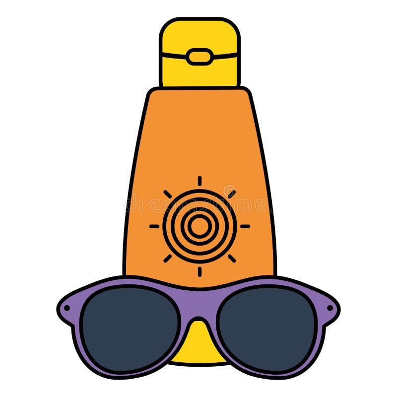 Ηλιακό blocker μπουκάλι με το εξάρτημα γυαλιών ηλίου ελεύθερη απεικόνιση δικαιώματος