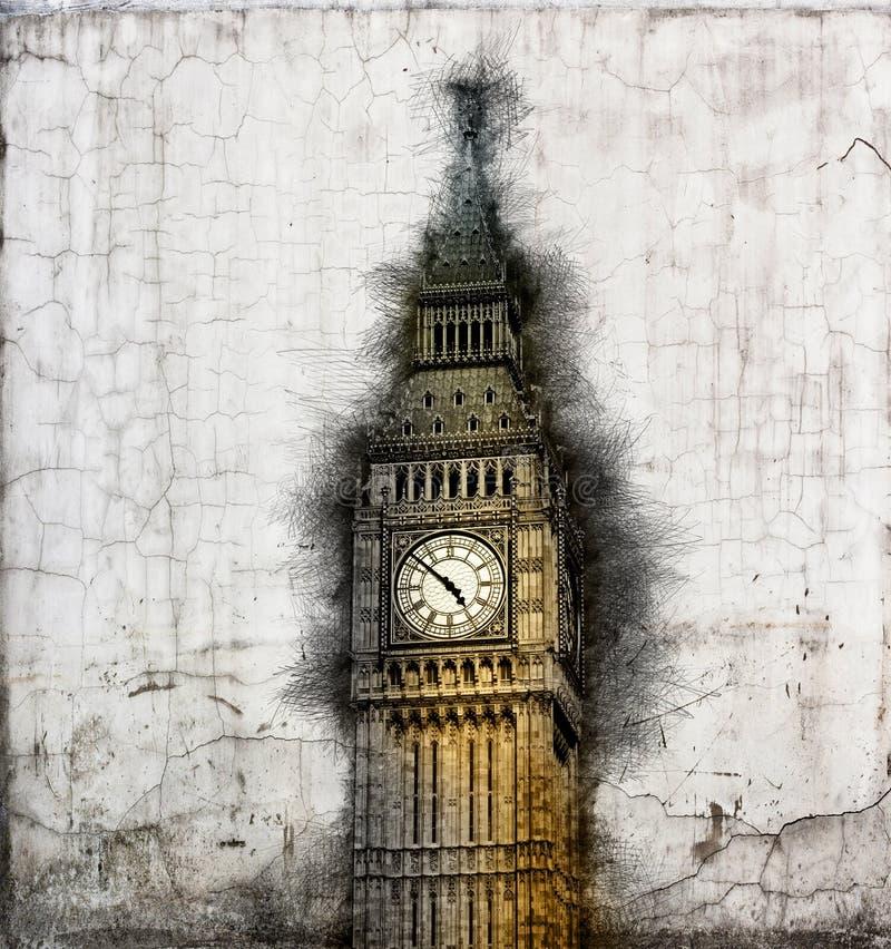 Ηλικίας έγγραφο grunge με τον πύργο ρολογιών Big Ben διανυσματική απεικόνιση