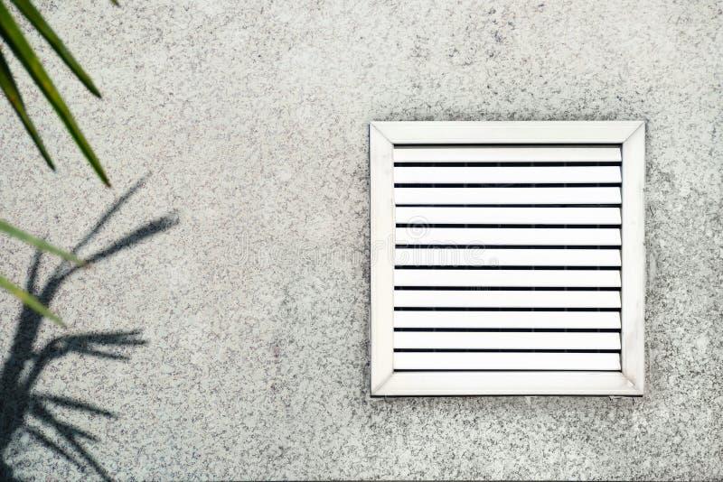 Ηλικίας διέξοδος με τα άσπρα παραθυρόφυλλα στο υπόβαθρο του γκρίζου σκυροδέματος κάτω από τα φύλλα του φοίνικα στοκ φωτογραφία με δικαίωμα ελεύθερης χρήσης