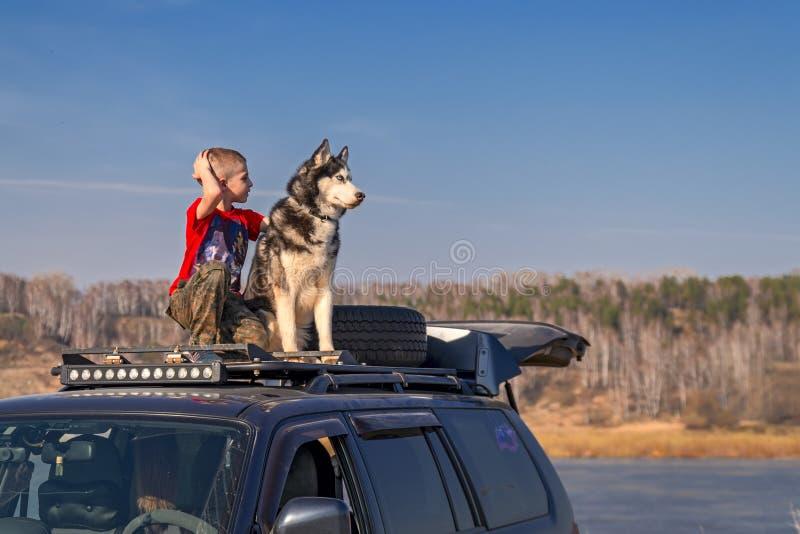 Ηλικία αγοριών 8 έτη σε μια κόκκινη συνεδρίαση πουκάμισων στη στέγη του αυτοκινήτου και των αγκαλιασμάτων οι σύντροφοι σκυλιών το στοκ φωτογραφία με δικαίωμα ελεύθερης χρήσης