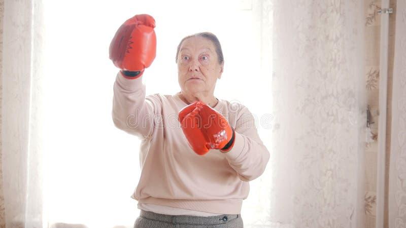 Ηλικιωμένες ανώτερες γυναίκες που εγκιβωτίζουν στα κόκκινα γάντια, επιθετικός και αστείος στοκ εικόνες