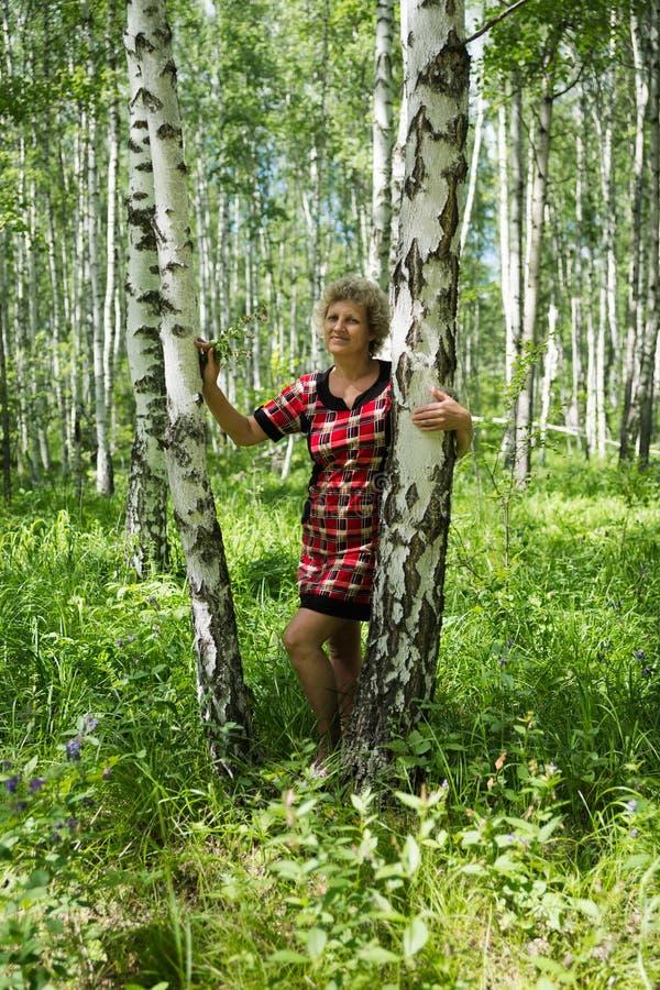 Ηλικιωμένες στάσεις γυναικών μεταξύ των σημύδων σε ένα θερινό δάσος στοκ φωτογραφία με δικαίωμα ελεύθερης χρήσης