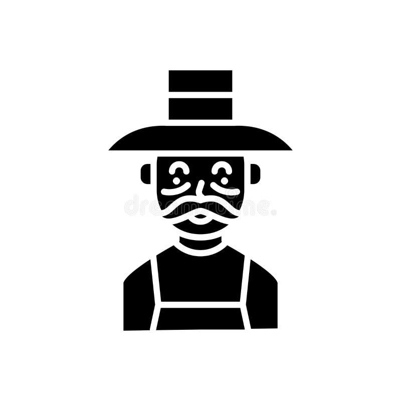 Ηλικιωμένη έννοια εικονιδίων αγροτών μαύρη Ηλικιωμένο επίπεδο διανυσματικό σύμβολο αγροτών, σημάδι, απεικόνιση διανυσματική απεικόνιση