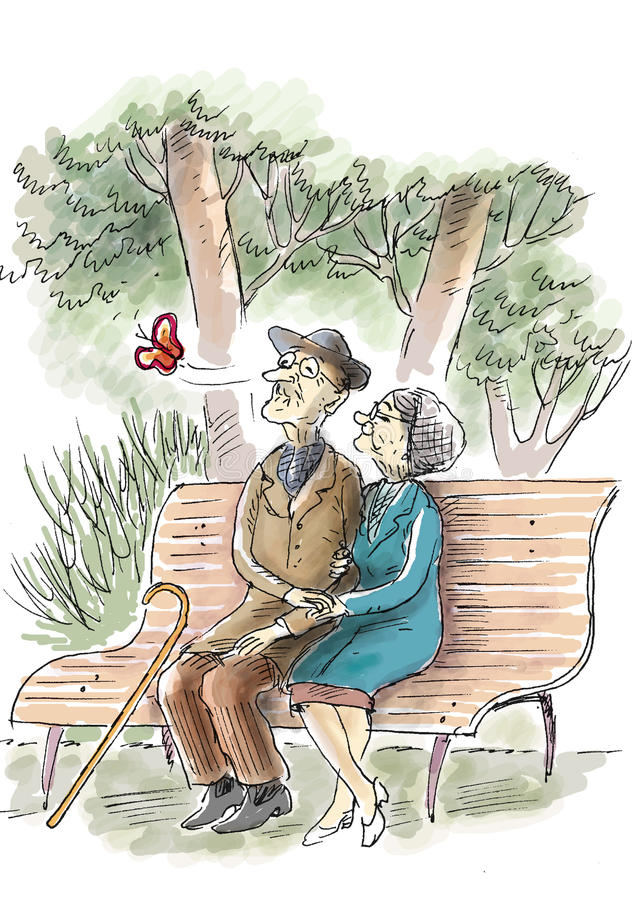 Ηλικιωμένη αγάπη ελεύθερη απεικόνιση δικαιώματος