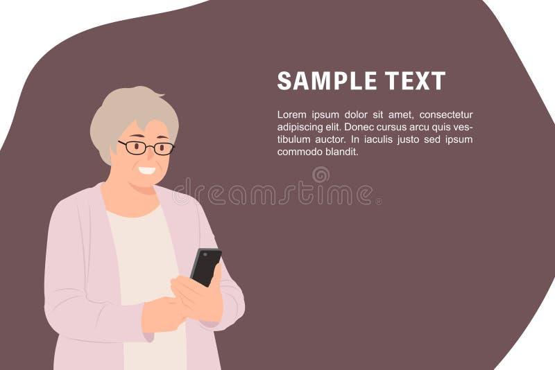 Ηλικιωμένη ανώτερη γυναίκα προτύπων εμβλημάτων σχεδίου χαρακτήρα ανθρώπων κινούμενων σχεδίων που εξετάζει το τηλέφωνο κυττάρων ευ ελεύθερη απεικόνιση δικαιώματος