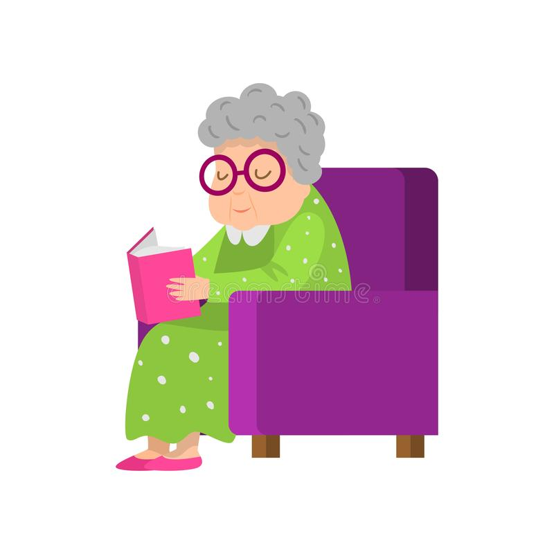 Ηλικιωμένη ανώτερη γυναίκα στο πράσινο φόρεμα που διαβάζει ένα βιβλίο απεικόνιση αποθεμάτων