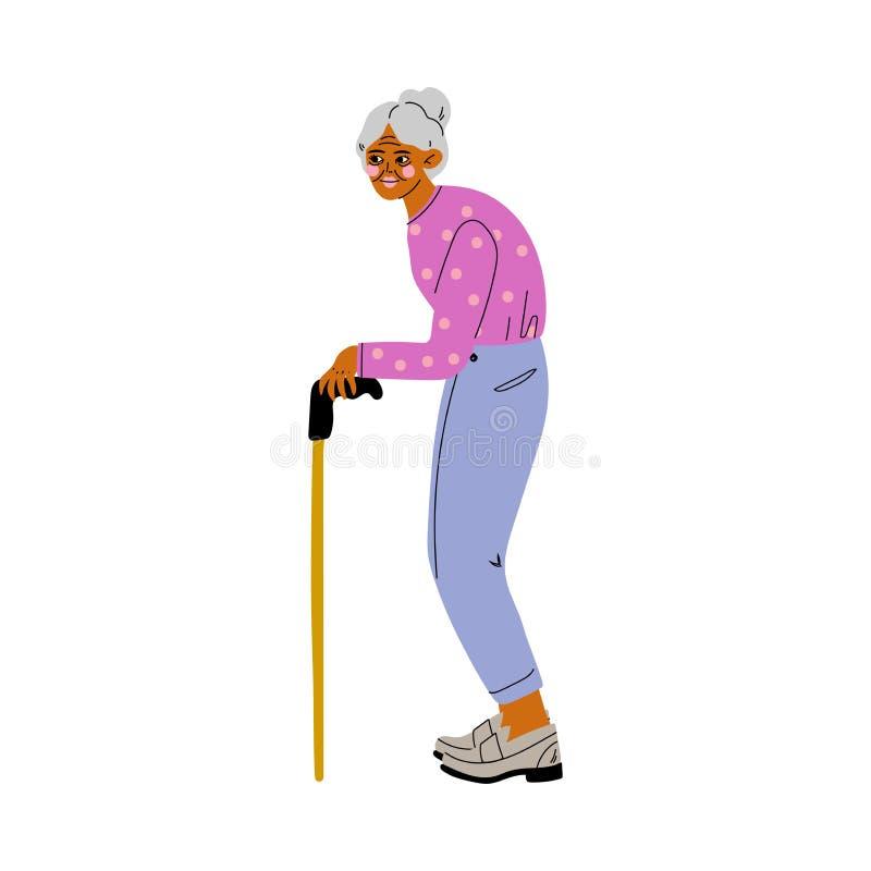 Ηλικιωμένη γκρίζα ανώτερη γυναίκα που περπατά με τη διανυσματική απεικόνιση καλάμων ελεύθερη απεικόνιση δικαιώματος