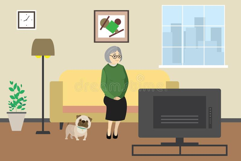 Ηλικιωμένη γυναίκα ή γιαγιά κινούμενων σχεδίων που προσέχει στο σπίτι τη TV με το σκυλί, εσωτερικό εσωτερικό με τα έπιπλα διανυσματική απεικόνιση
