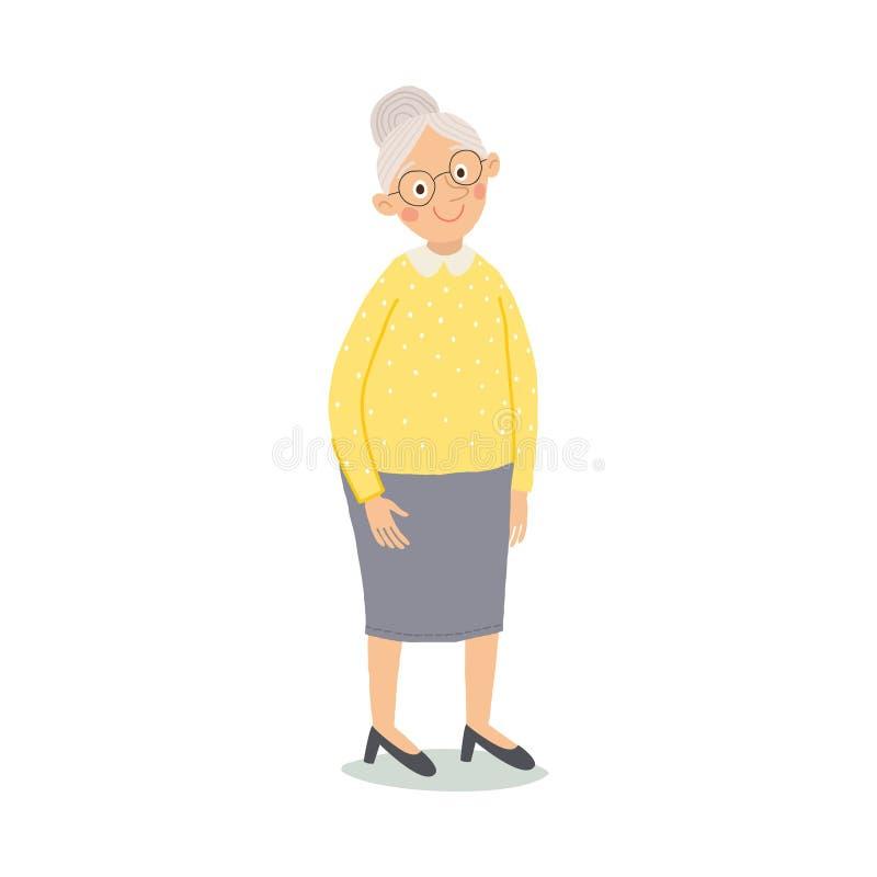 Ηλικιωμένη γυναίκα Ανώτερη κυρία με τη στάση γυαλιών Χαριτωμένο χαμόγελο γιαγιάδων Ηλικιωμένοι, πρεσβύτερος, συνταξιούχοι cartoon απεικόνιση αποθεμάτων