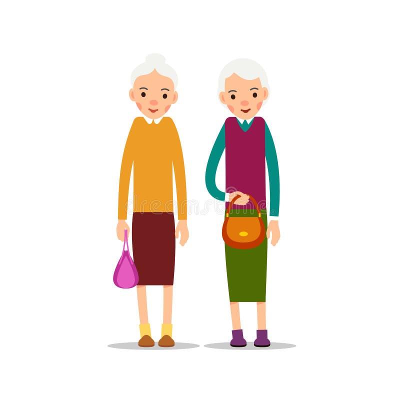 Ηλικιωμένη γυναίκα δύο Δύο ανώτερες, ηλικιωμένες γυναίκες με τις τσάντες γυναικών ` s, ασβέστιο διανυσματική απεικόνιση