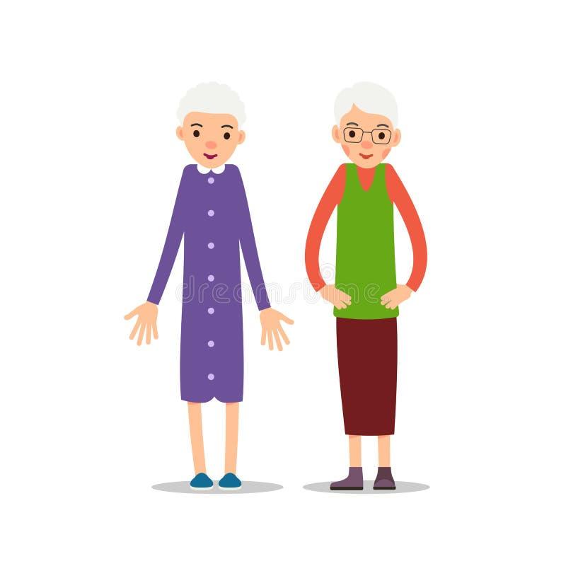 Ηλικιωμένη γυναίκα Δύο πρεσβύτερος, μια παλαιότερη στάση womаn και κρατά τα όπλα του ελεύθερη απεικόνιση δικαιώματος