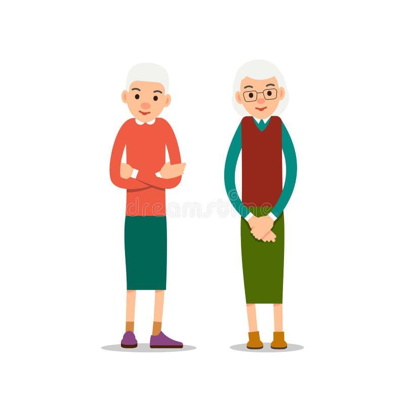 Ηλικιωμένη γυναίκα Δύο πρεσβύτερος, μια στάση ηλικιωμένων γυναικών με το σταυρό όπλων του απεικόνιση αποθεμάτων