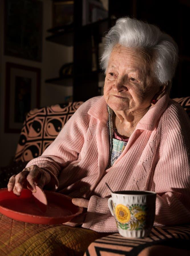 Ηλικιωμένη γυναίκα που τρώει το μεσημεριανό γεύμα στοκ εικόνες
