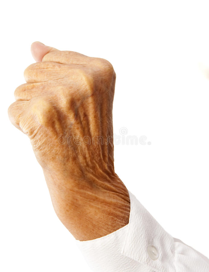ηλικιωμένη γυναίκα πυγμών στοκ φωτογραφία