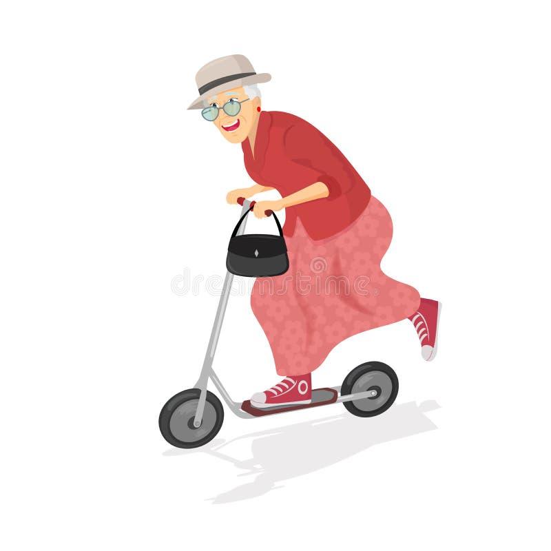 Ηλικιωμένη γυναίκα στο μηχανικό δίκυκλο Ηλικιωμένη προοδευτική γυναίκα Πρεσβύτερος που έχει τη διασκέδαση Ηλικιωμένη γυναίκα που  απεικόνιση αποθεμάτων