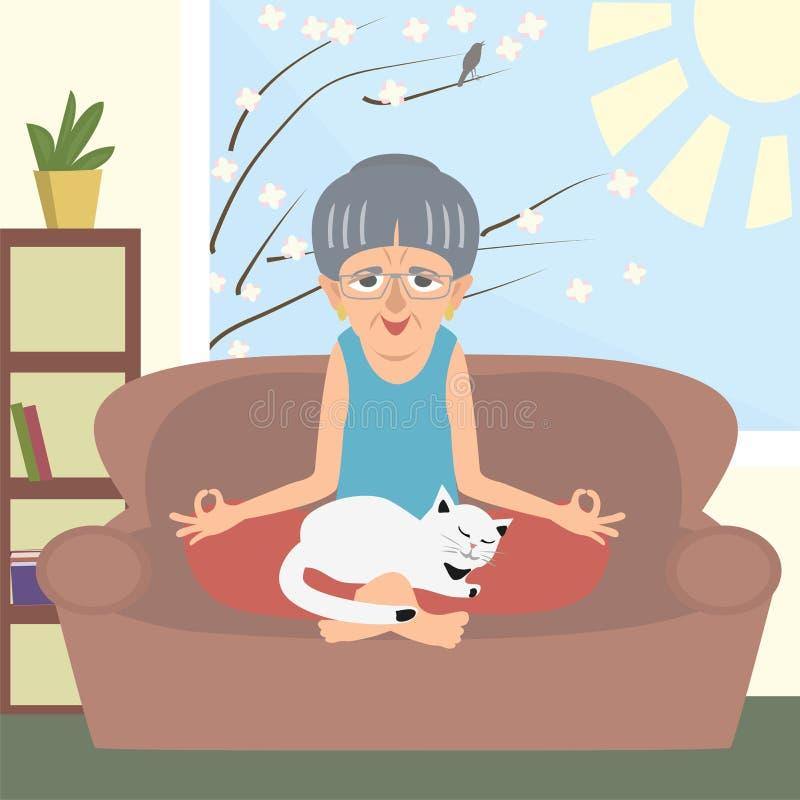 Ηλικιωμένη κυρία που κάνει τη γιόγκα με τα διανυσματικά κινούμενα σχέδια γατών στο σπίτι απεικόνιση αποθεμάτων