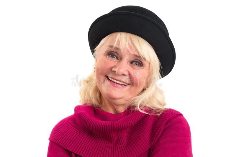 ηλικιωμένη χαμογελώντας & στοκ εικόνα με δικαίωμα ελεύθερης χρήσης