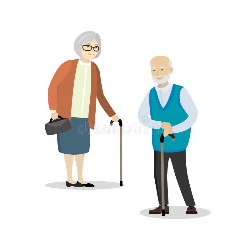 Ηλικιωμένοι άνθρωποι, γιαγιά και παππούς που απομονώνονται στη λευκιά ΤΣΕ απεικόνιση αποθεμάτων