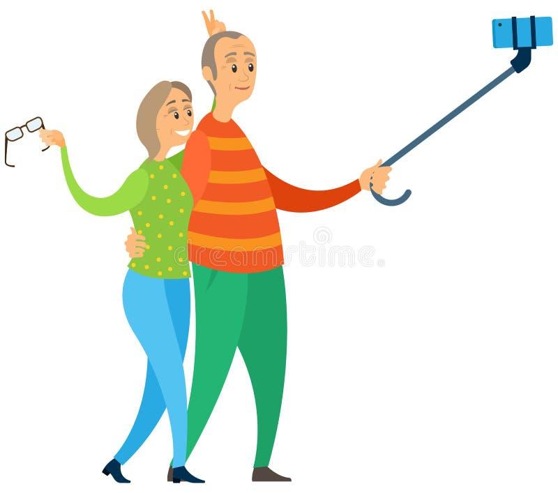 Ηλικιωμένοι άνθρωποι που κάνουν Selfie μαζί, παλαιό διάνυσμα ελεύθερη απεικόνιση δικαιώματος