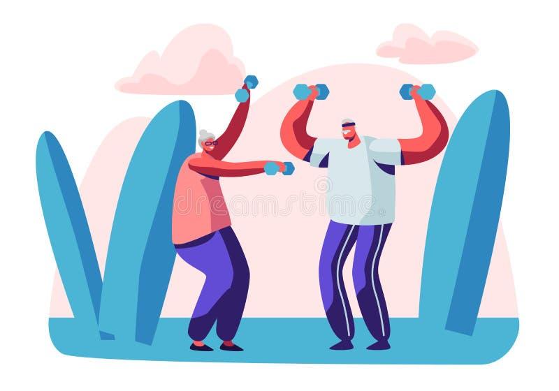 Ηλικιωμένοι άνθρωποι υπαίθριο Workout με τους αλτήρες Το ηλικίας ζεύγος δεσμεύει τον αθλητισμό υπαίθρια Ευτυχής ανώτερη κατάρτιση διανυσματική απεικόνιση
