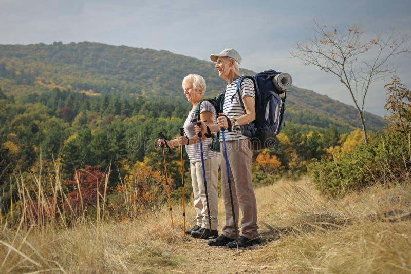 Ηλικιωμένοι οδοιπόροι που κοιτάζουν μακριά υπαίθρια στοκ εικόνα