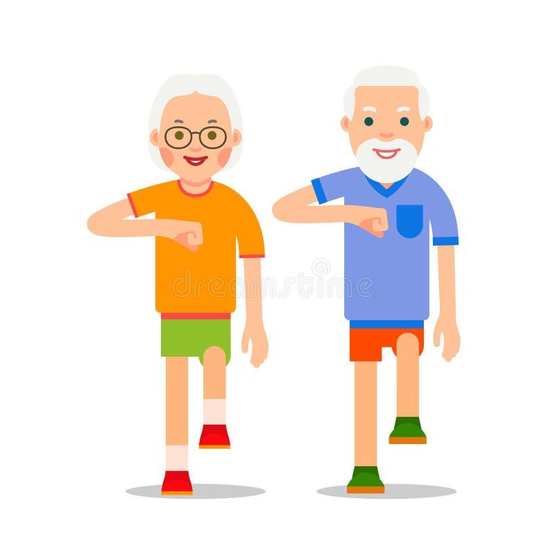 Ηλικιωμένος άνθρωπος και αθλητικό περπάτημα Οι παππούδες και γιαγιάδες εκτελούν τα gymnas υγείας διανυσματική απεικόνιση