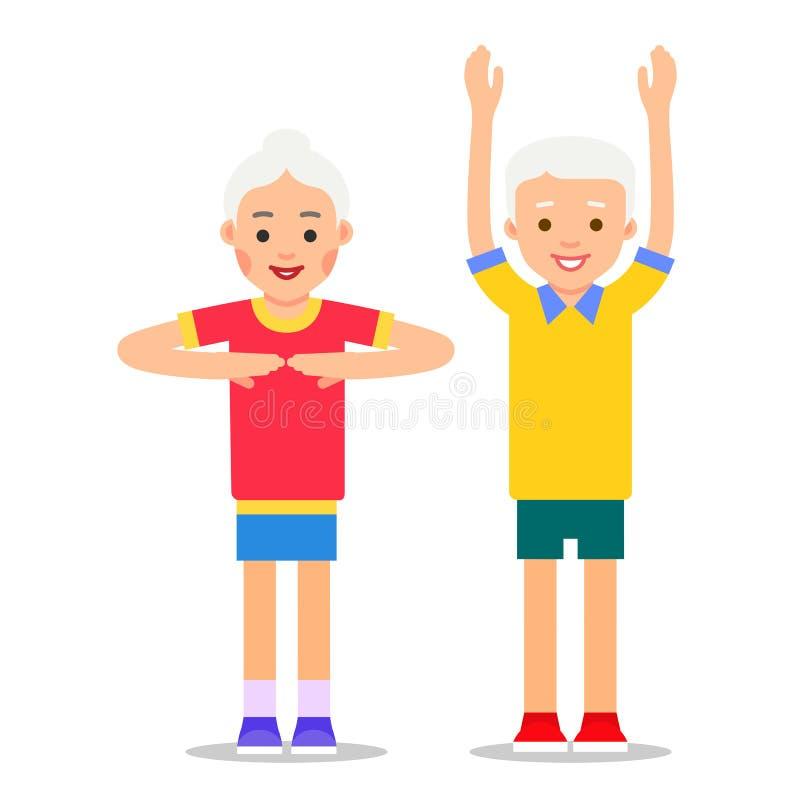 Ηλικιωμένος άνθρωπος και αθλητισμός Οι παππούδες και γιαγιάδες εκτελούν τη γυμναστική υγείας S απεικόνιση αποθεμάτων