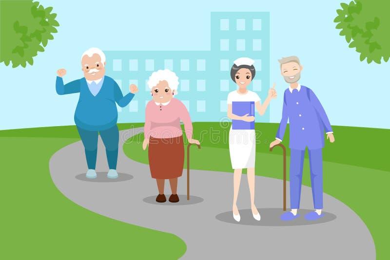 Ηλικιωμένος άνθρωπος με τη νοσοκόμα ελεύθερη απεικόνιση δικαιώματος