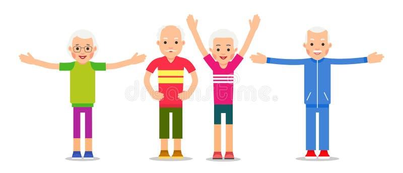 Ηλικιωμένος άνθρωπος που κάνει τις ασκήσεις Συνταξιούχοι και γυμναστική ομάδας Sen ελεύθερη απεικόνιση δικαιώματος