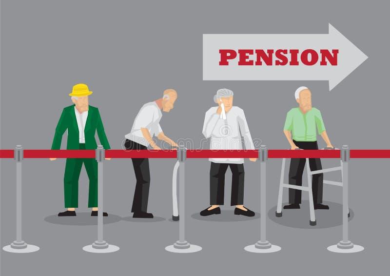 Ηλικιωμένος άνθρωπος που περιμένει στη γραμμή τη συνταξιοδοτική πληρωμή διανυσματικό Illustrati απεικόνιση αποθεμάτων
