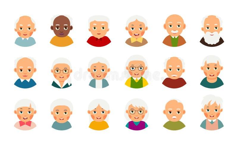Ηλικιωμένος άνθρωπος χρηστών ειδώλων Σύνολο εικονιδίων Ιστού Σύγχρονη απεικόνιση με τους αρσενικούς και θηλυκούς ηλικιωμένους ανθ διανυσματική απεικόνιση