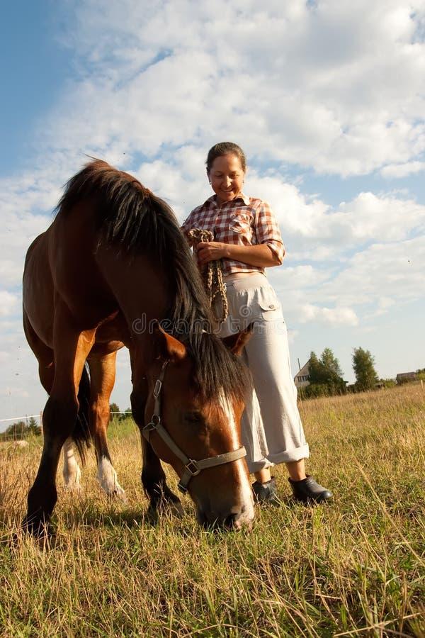 ηλικιωμένο άλογο κοντά στην όμορφη γυναίκα στοκ φωτογραφία
