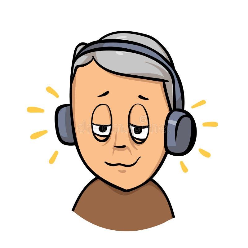 Ηλικιωμένο άτομο, αποσυρμένος πρεσβύτερος τύπος με τα ακουστικά που ακούνε τη μουσική Επίπεδο εικονίδιο σχεδίου Επίπεδη διανυσματ ελεύθερη απεικόνιση δικαιώματος