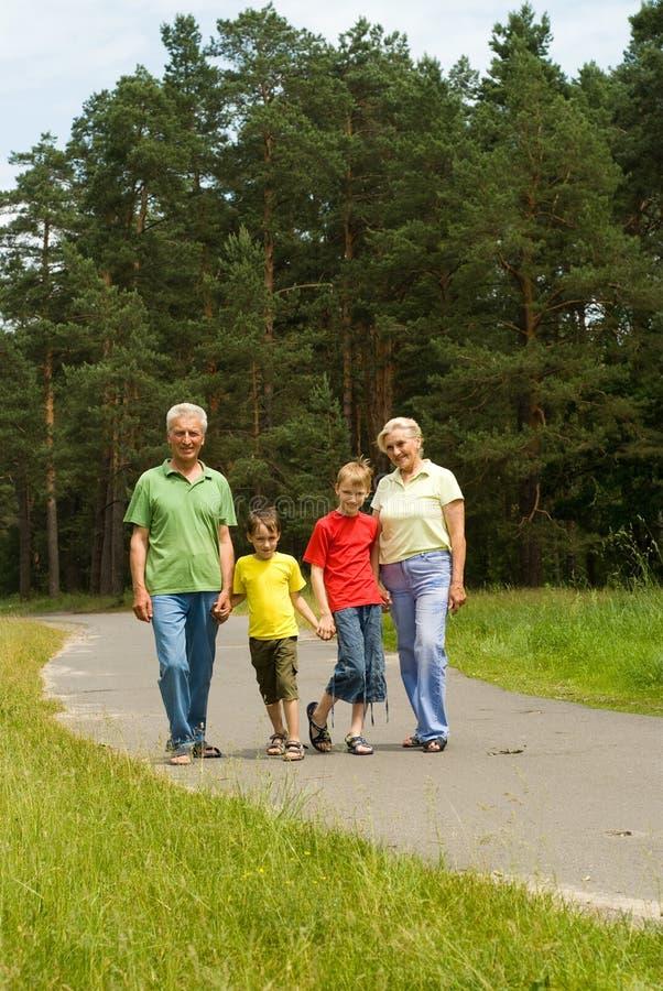 Ηλικιωμένο ζεύγος με τα εγγόνια τους στοκ φωτογραφία με δικαίωμα ελεύθερης χρήσης