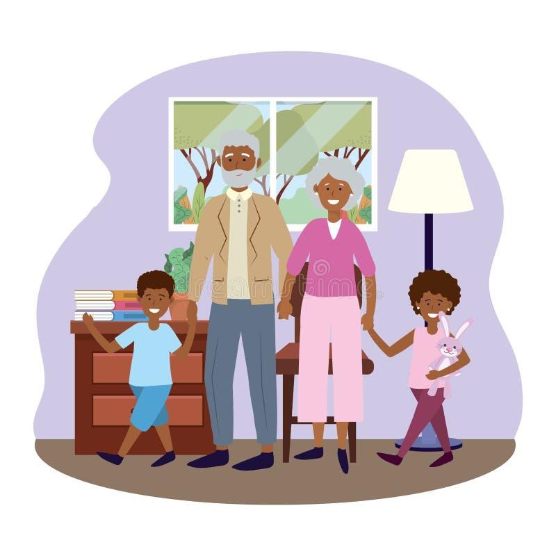 Ηλικιωμένο ζεύγος με τα παιδιά διανυσματική απεικόνιση