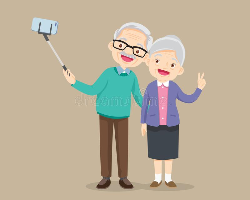 Ηλικιωμένο ζεύγος που κάνει selfie τη φωτογραφία με το smartphone απεικόνιση αποθεμάτων