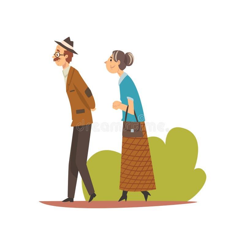 Ηλικιωμένο ζεύγος που περπατά στο πάρκο, τον ανώτερους άνδρα και τη γυναίκα που απολαμβάνουν τη διανυσματική απεικόνιση φύσης υπα διανυσματική απεικόνιση