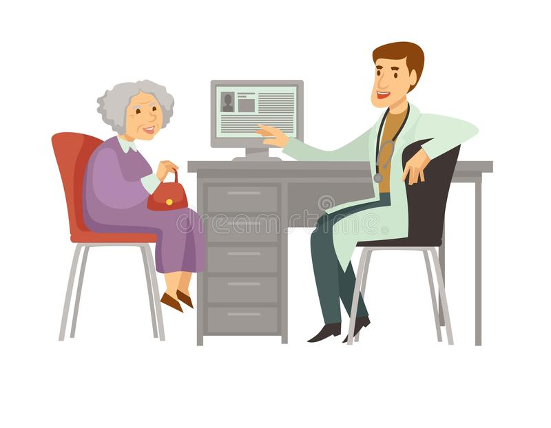Ηλικιωμένων γυναικών υπομονετικό επίσκεψης εικονίδιο κινούμενων σχεδίων γιατρών διανυσματικό απεικόνιση αποθεμάτων