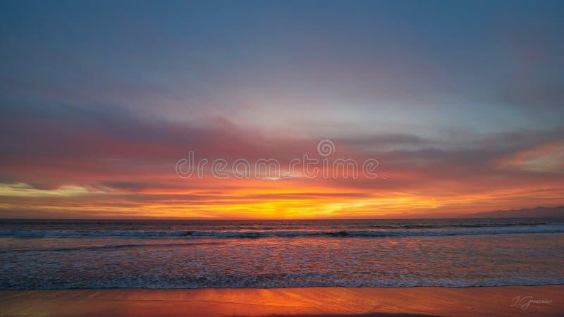 Ηλιοβασίλεμα Ð ¡ στο alifornia, παραλία της Βενετίας στοκ φωτογραφίες