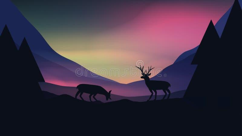 Ηλιοβασίλεμα ή Dawn πέρα από τα βουνά με το αρσενικό ελάφι στο τοπ τοπίο Hill - ελεύθερη απεικόνιση δικαιώματος