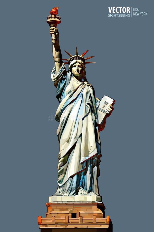 ηλιοβασίλεμα αγαλμάτων της Νέας Υόρκης ελευθερίας πόλεων πόλη Νέα Υόρκη αμερικανικό σύμβολο ορόσημο επίσης corel σύρετε το διάνυσ διανυσματική απεικόνιση