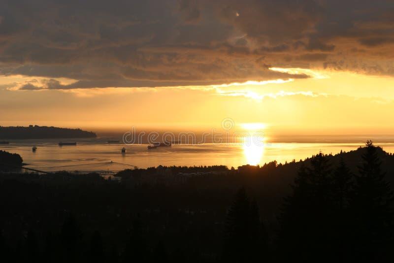 ηλιοβασίλεμα Βανκούβε&rh στοκ εικόνες