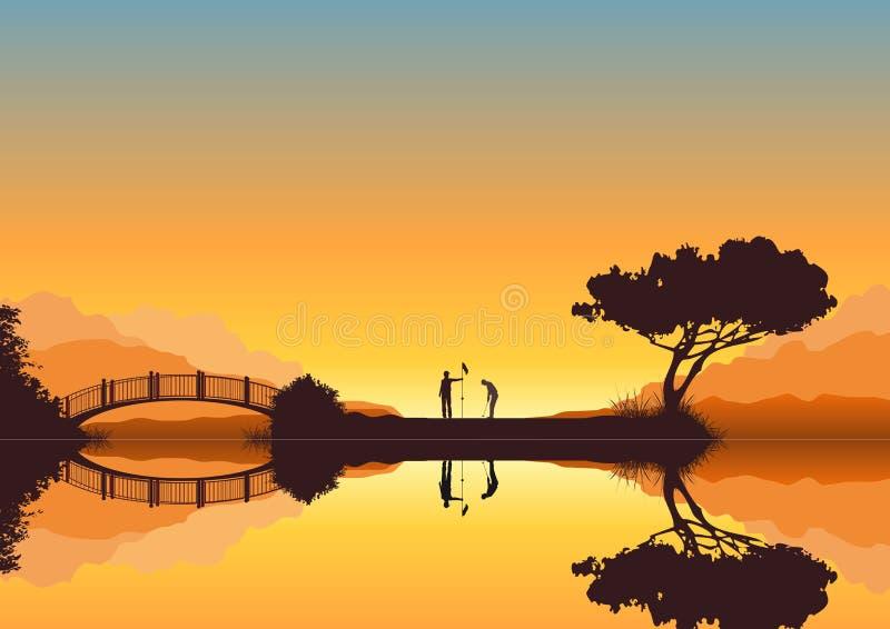 ηλιοβασίλεμα γκολφ ελεύθερη απεικόνιση δικαιώματος