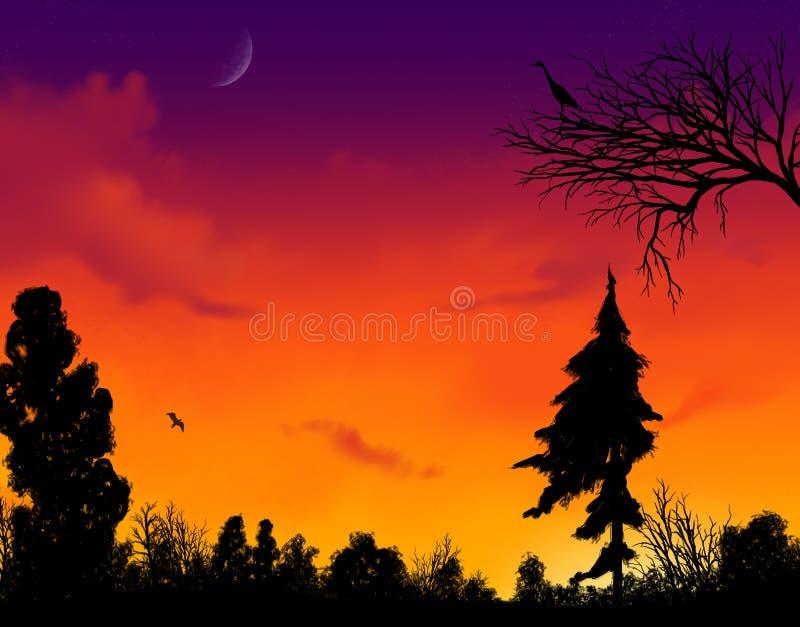 ηλιοβασίλεμα ζωηρό διανυσματική απεικόνιση