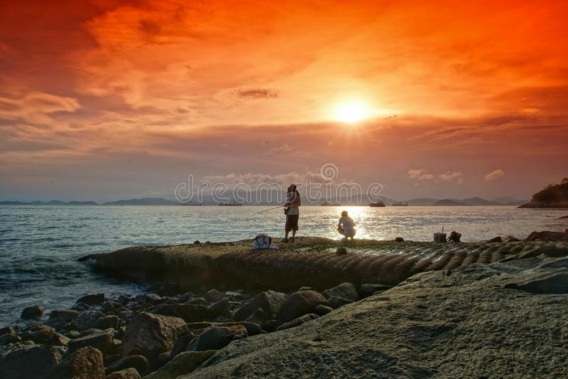 Ηλιοβασίλεμα θάλασσας του HK στοκ φωτογραφία με δικαίωμα ελεύθερης χρήσης