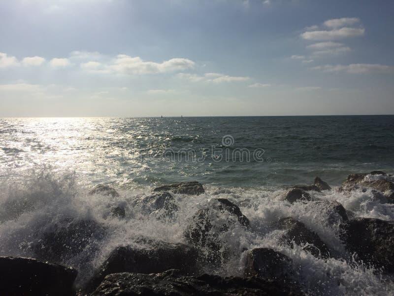 Ηλιοβασίλεμα & θάλασσα στο τηλ. στοκ εικόνες με δικαίωμα ελεύθερης χρήσης