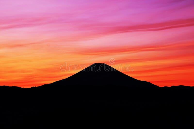 Ηλιοβασίλεμα και ΑΜ fuji στοκ εικόνες