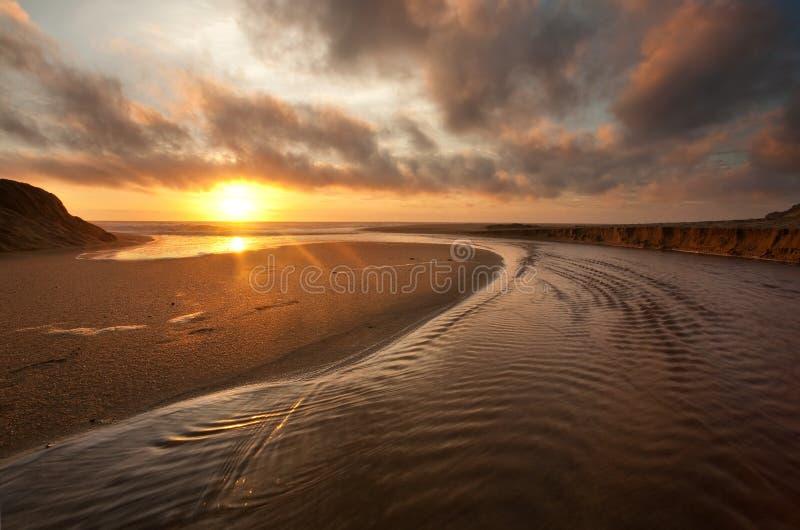 ηλιοβασίλεμα Καλιφόρνιας παραλιών στοκ εικόνα με δικαίωμα ελεύθερης χρήσης