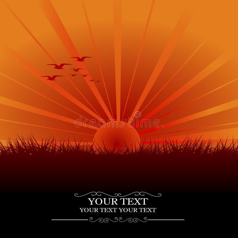 Download ηλιοβασίλεμα καρτών που διανυσματική απεικόνιση. εικονογραφία από ζωγραφική - 22780400