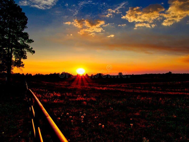 Ηλιοβασίλεμα λιβαδιού στη λεκάνη ηχούς στοκ εικόνες με δικαίωμα ελεύθερης χρήσης